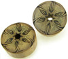 Bamboo Cylinder Plugs with Burnt Star Flower Designs, pair, 1 1/2 inch diameter