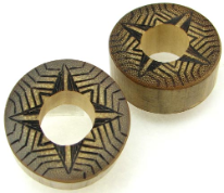 Bamboo Cylinder Plugs, Burnt Digital Star Designs