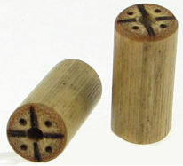 Large Gauge Bamboo Cylinder Plugs, Burnt Compass Designs