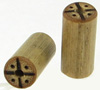 Bamboo Cylinder Plugs with Burnt Compass Designs, pair, 3 gauge