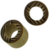 Bamboo Cylinder Plugs with Burnt Horizontal/Vertical Lines Designs, 5/8 inch diameter (pair)