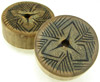 Bamboo Cylinder Plugs with Burnt Leaf Vein Kaleidoscope Designs, pair, 1 5/8 inch diameter
