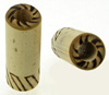 Long Bamboo Plugs with Burnt Double Lines Designs Face & Wearing Surface, pair, 00 gauge