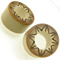 Bamboo Cylinder Plugs, Burnt Flower Designs