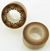 Bamboo Cylinder Plugs with Burnt Designs, pair, 1 inch diameter