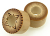 Bamboo Cylinder Plugs with Burnt Designs, pair, 7/8 inch diameter
