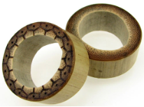 Bamboo Cylinder Plugs, Burnt Marquesas Island Designs