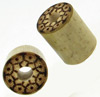 Bamboo Cylinder Plugs with Burnt Marquesas Island Designs, pair, 7/16 inch diameter
