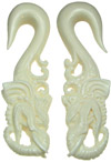 Large Gauge White Bone Elephant Head Hook Earrings
