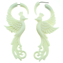 Bone Fake Gauge Peacock Earrings