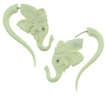 Bone Fake Gauge Elephant Earrings