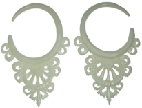 Large Gauge Balinese Lace Bone Hook Earrings