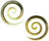 6  gauge Black Mother of Pearl Shell Spiral Earrings