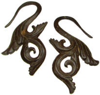 Large Gauge Coconut Shell Fancy S Hook Earrings