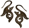 Coconut Shell Fancy S Hook Earrings, 12 gauge through 14 gauge (pair)