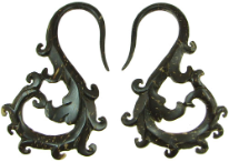Coconut Shell Swirly S Hook Gauge Earrings