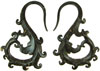 Coconut Shell Swirly S Hook Earrings, 12 gauge - 13 gauge