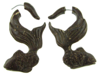 Coconut Shell Gold Fish Fake Gauge Earrings