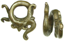 Dayak Brass Small Coil Single Aso Dragon Ear Weights