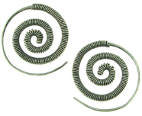 Karen Tribe Silver Coiled Spiral Earrings