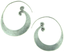 Karen Tribe Silver Medium Flat Hoop Earrings