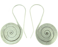 Karen Tribe Silver Large Hanging Flat Spiral Earrings