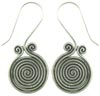 Karen Tribe Silver Large Hanging Coiled Spiral Earrings