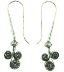 Karen Tribe Silver Hanging Triple Flat Coiled Spiral Earrings