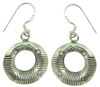 Karen Tribe Silver Hanging Stamped Lines Hoop Earrings