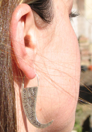 "Sarah wearing Thai Mein Tribe Silver ""Tiger Teeth"" Earrings, pair"