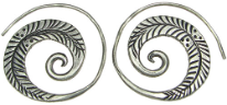 Karen Tribe Silver Flat Spiral Leaf Design Earrings