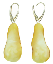 Natural Cut Butterscotch Amber and Sterling Silver Hanging Earrings