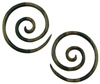 6 gauge Ebony Wood Large Round Spiral Earrings