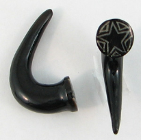 Horn Tapered Claws, Star Triangle Inlaid Nail Heads, 2 gauge - 5/8 inch