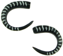 Horn Claws, White Stripes Tattoo Designs, 5 gauge - 4 gauge