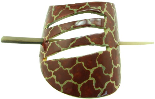 African Cow Horn Hair Clip with Giraffe Design