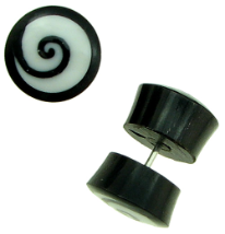 Horn Fake Gauge Plug Earrings, Bone Spiral Inlays