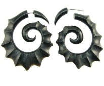 Horn Fake Gauge Scalloped Spiral Earrings