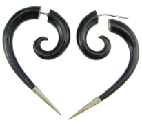 Silver Tipped Horn Fake Gauge Comma Spiral Earrings