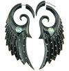 Horn Fake Gauge Spotted Spiral Wing Earrings