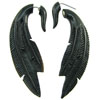 Horn Fake Gauge Hanging Feather Earrings