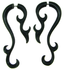 Horn Fancy Spiral Hook Fake Gauge Earrings