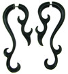 Horn Fakie Earrings, Fancy Spiral Hooks