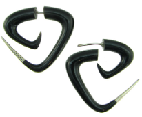 Horn Fakie Triangular Spiral Earrings, Silver Tips