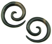 Ebony Wood Large Round Spiral Gauge Earrings