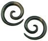 1/2 inch Ebony Wood Large Round Spiral Earrings