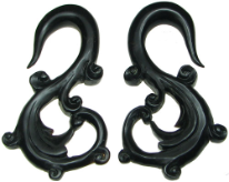 Fancy Horn S Hook Earrings, 4 gauge - 1/2 inch
