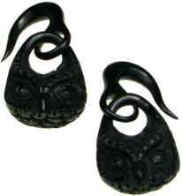 Large Gauge Horn Hanging Owl Head Hook Earrings