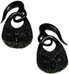 Horn Hook Earrings with Hanging Owl Heads, 6 gauge (pair)
