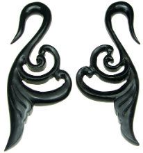 Fancy Horn Swan Hook Earrings, 4 gauge - 1/2 inch